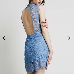 Free People Daydream Bodycon Slip Dress in Blue